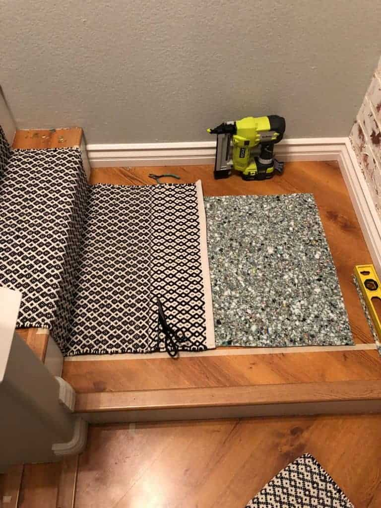 diy carpet stair runner process