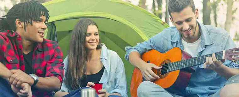 go camping girl boys fun enjoy guitar playing tent coffee cup  How to Make a Month Go By Fast