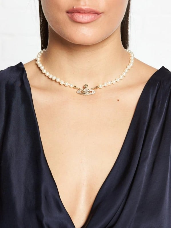Collier Gold Orb Pearl Choker image 2