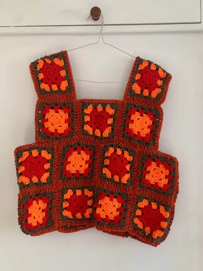 Patched crochet sweater sweater vest image 1