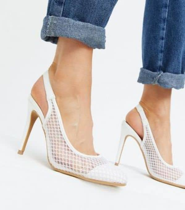 White Mesh Slingback Stiletto Court Shoes New Look