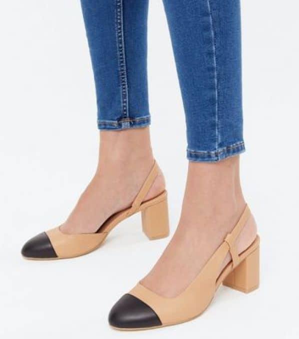Camel Slingback Toe Cap Block Heel Court Shoes New Look