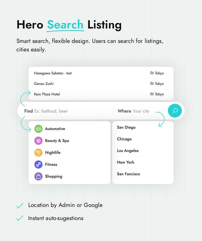 Golo - Directory & Listing, Travel WordPress Theme hero search