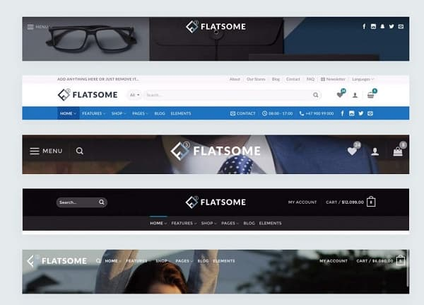 Flatsome themes header options