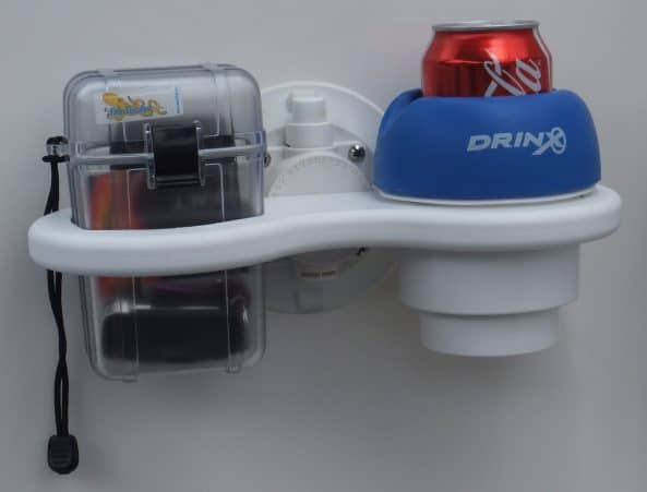 SeaSucker 2 Cup Holder Vertical Mount with Small Dry Box.