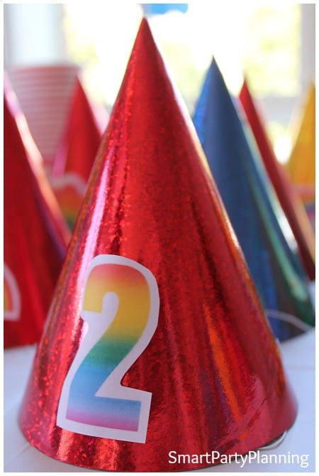 Rainbow birthday party hats