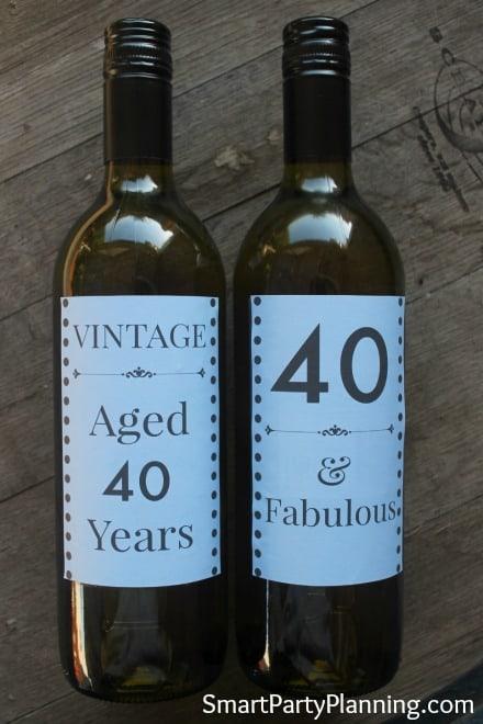 Blue 40th Wine Bottle Labels