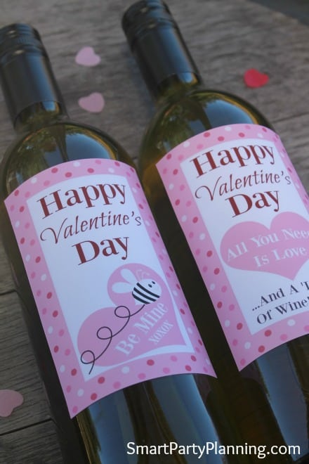 Printable Spotty Valentine Wine Labels