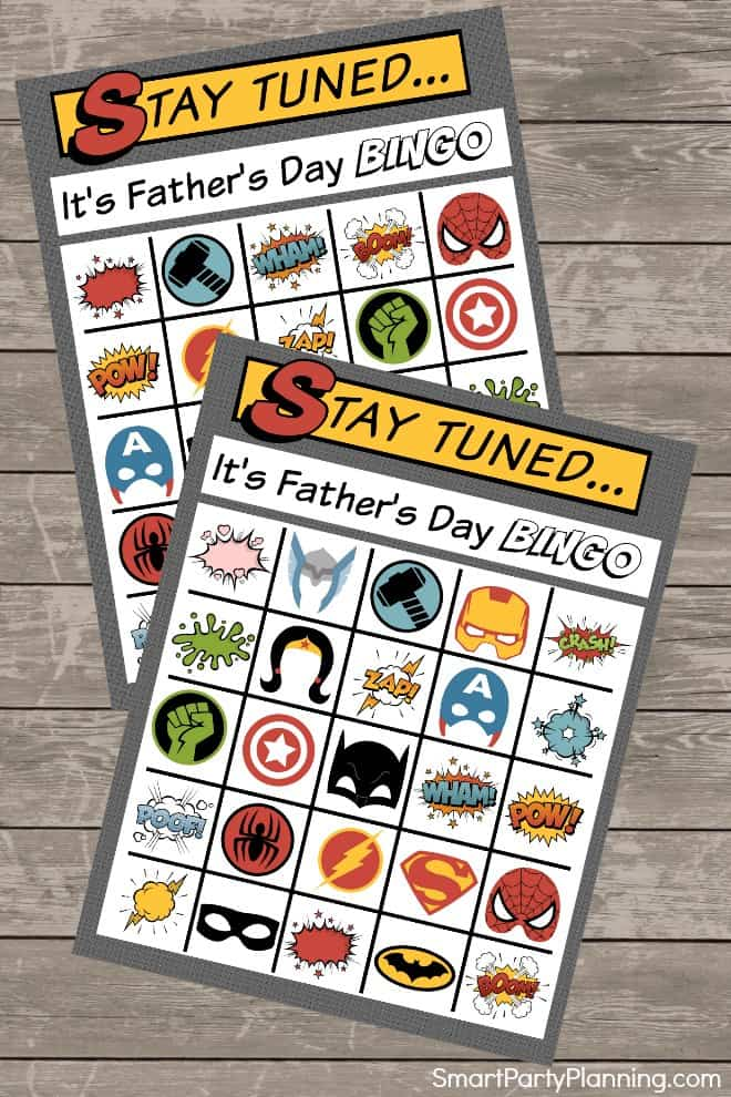Free Fathers day bingo cards