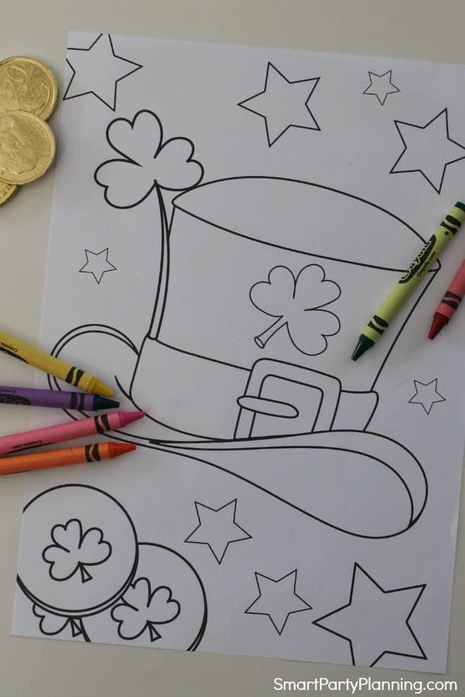 Leprechaun hat coloring page
