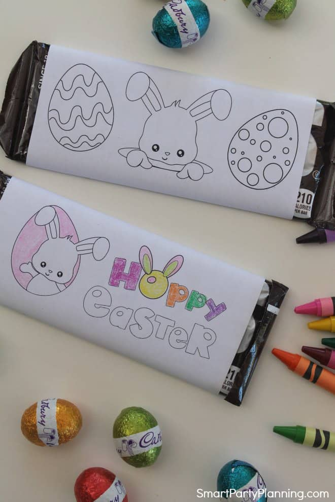 Easter bunny printable candy bar wrappers