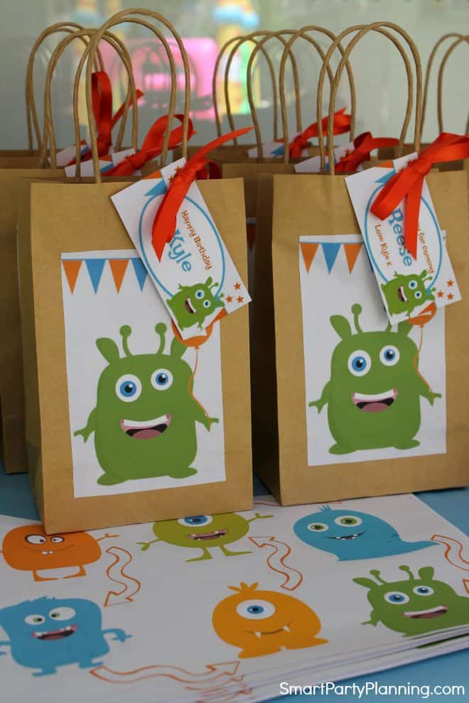 Monster party favor bags