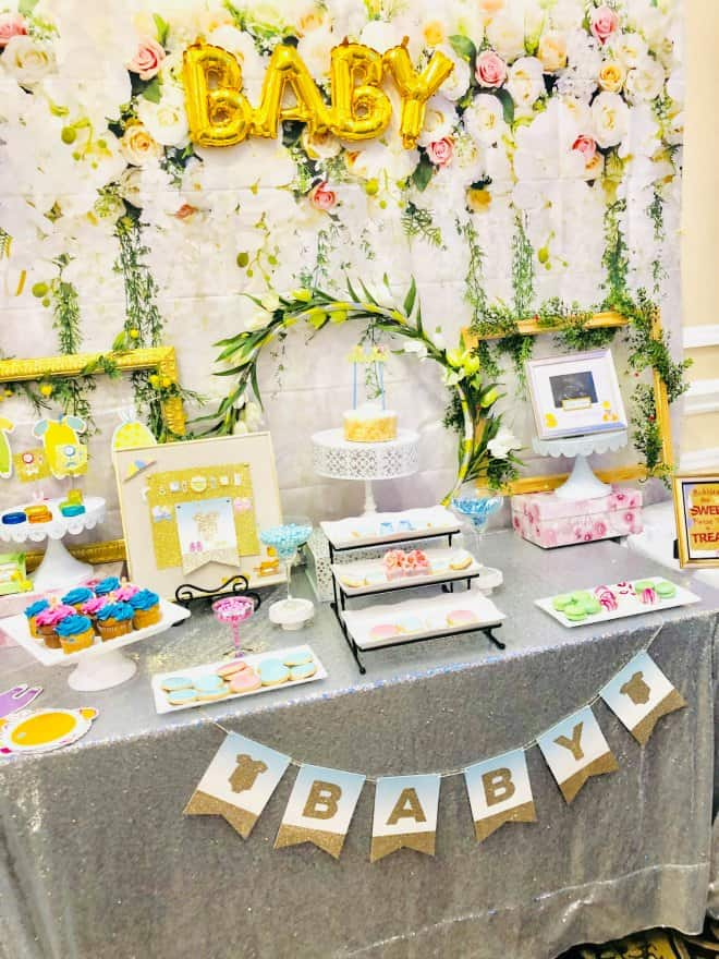 Floral baby shower table