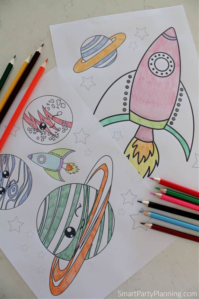 Space plants and rockets coloring pages