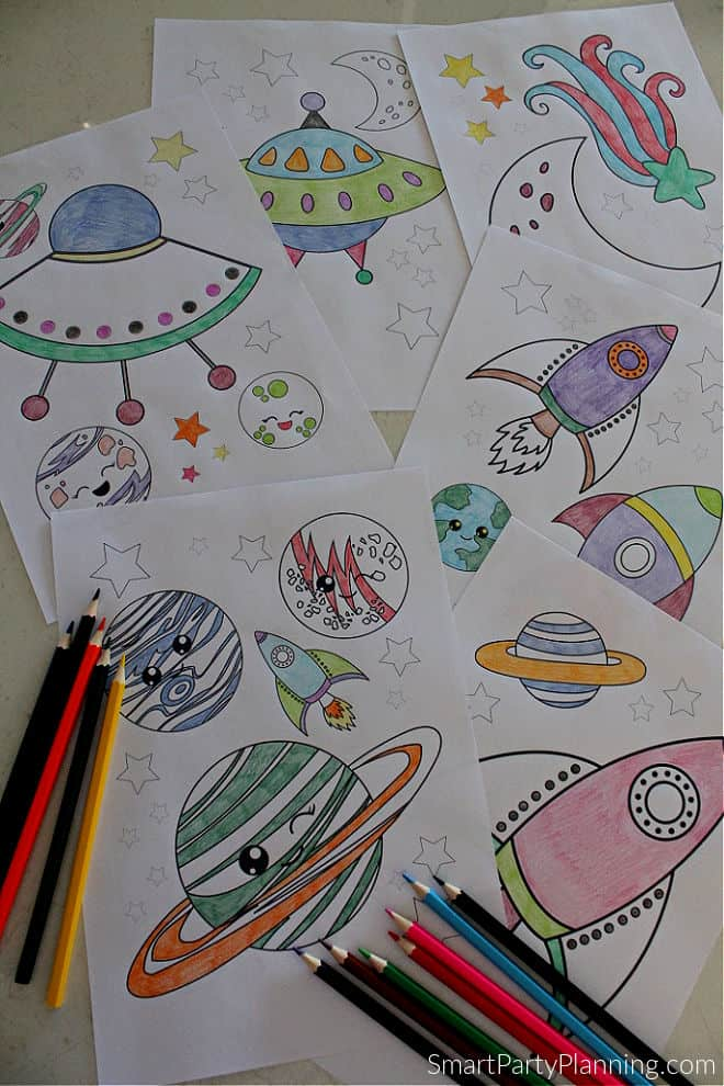 set of 6 space coloring pages