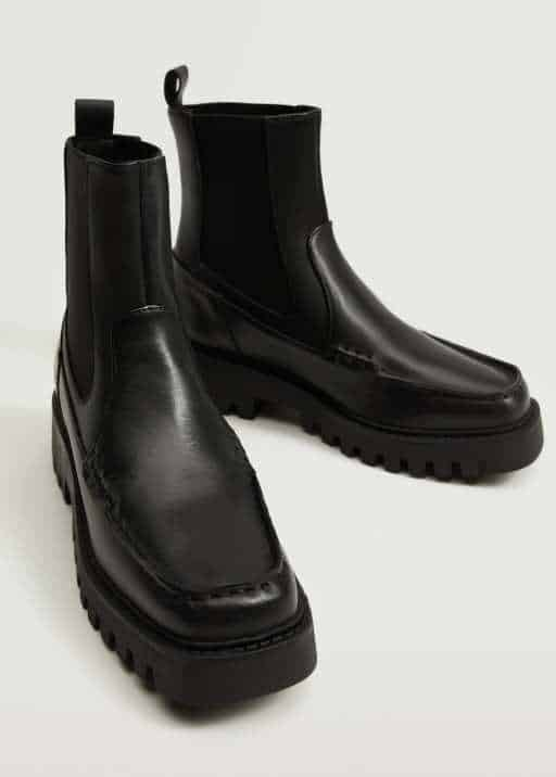 Leather track sole ankle boots - Mango
