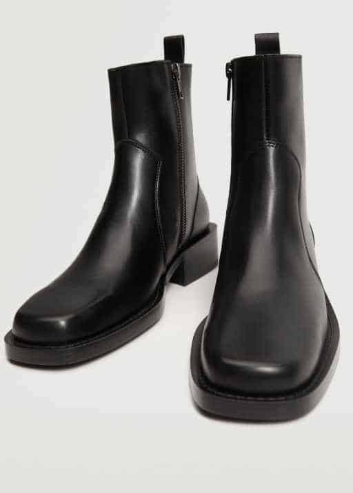 Zipped leather ankle boots - Mango