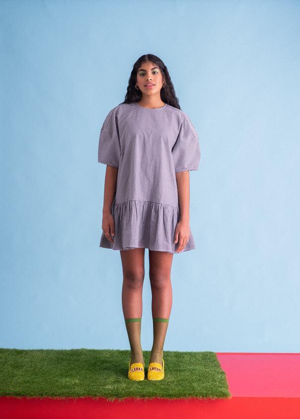 Sustainable Puffed Sleeve Smock Dress, £95, Ilk and Ernie