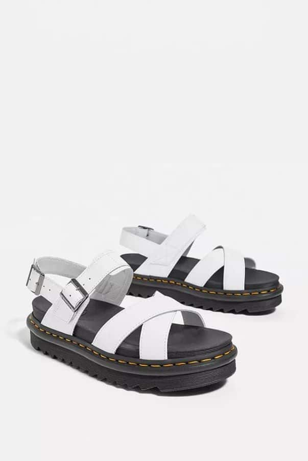 Dr. Martens White Leather Voss II Strap Sandals