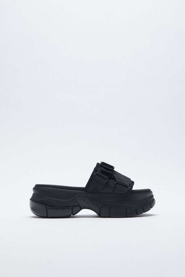 Zara Flat Sports Sandals With Track Sole