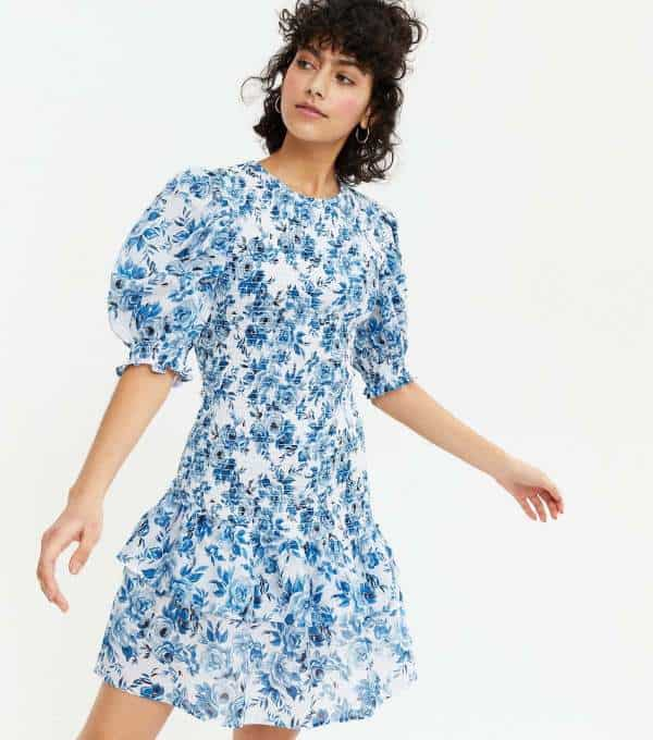 Blue Floral Shirred Ruffle Tiered Mini Dress new look