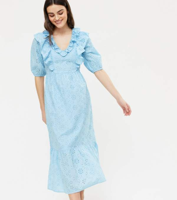 new look summer dresses 2021 - Pale Blue Broderie Frill Midi Dress
