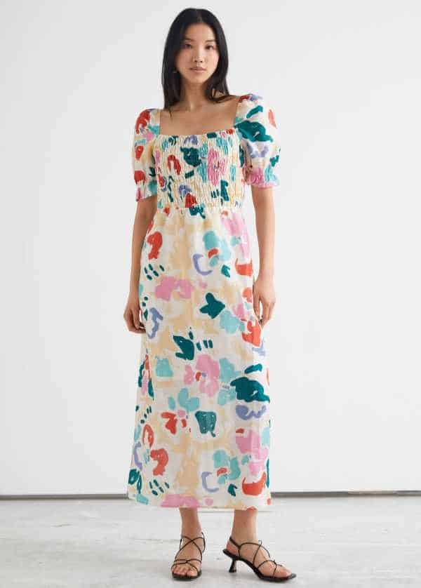 Printed Puff Sleeve Midi Dress & other stories