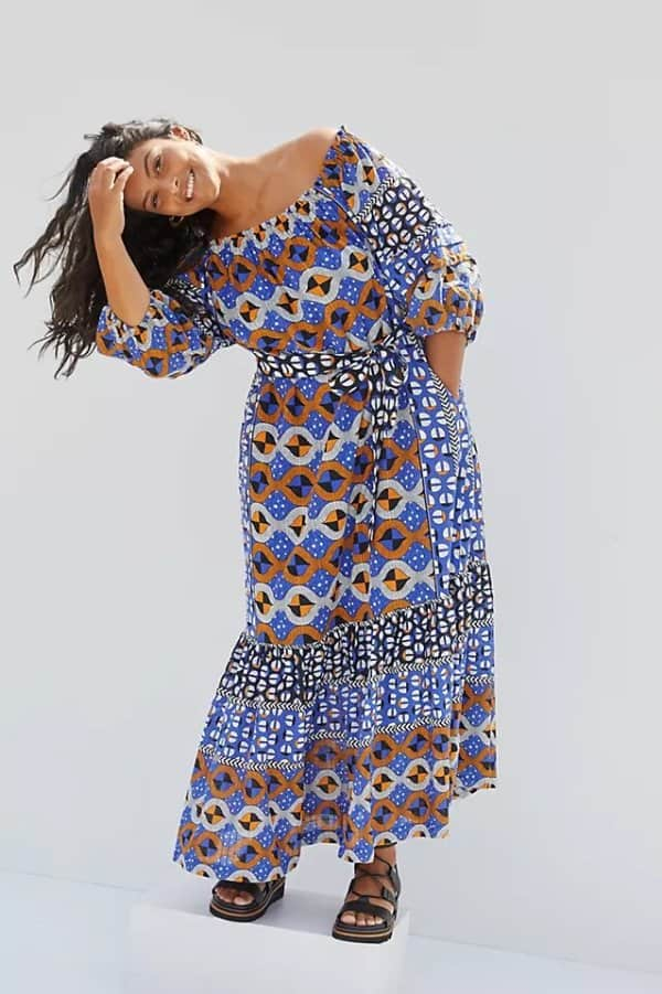 Abstract Flounced Off-The-Shoulder Maxi Dress anthropologie