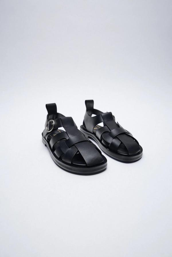 Zara Flat Leather Cage Sandals