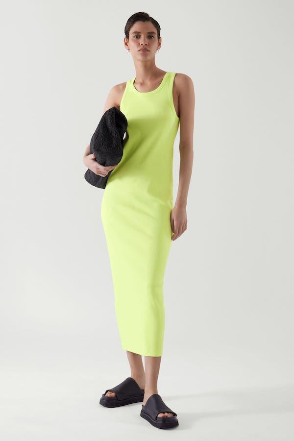 green COs Ribbed Dress