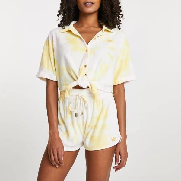 Yellow Tie Front Towelling Shirt and shorts