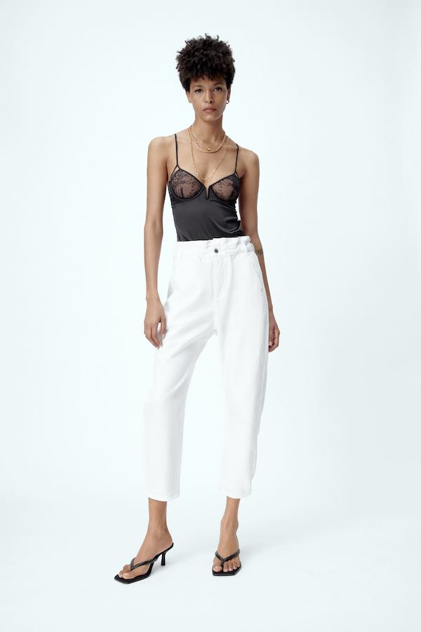 BAGGY PAPERBAG TROUSERS white jeans zara