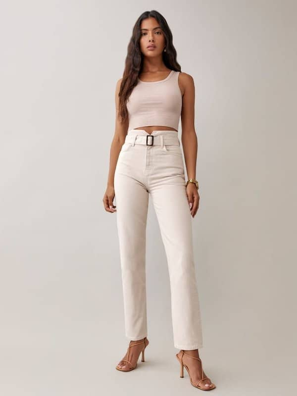 Reformation Cynthia Belted High-Rise Straight Jeans