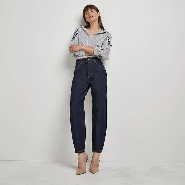 River Island Dark Blue High-Waisted Tapered Jeans