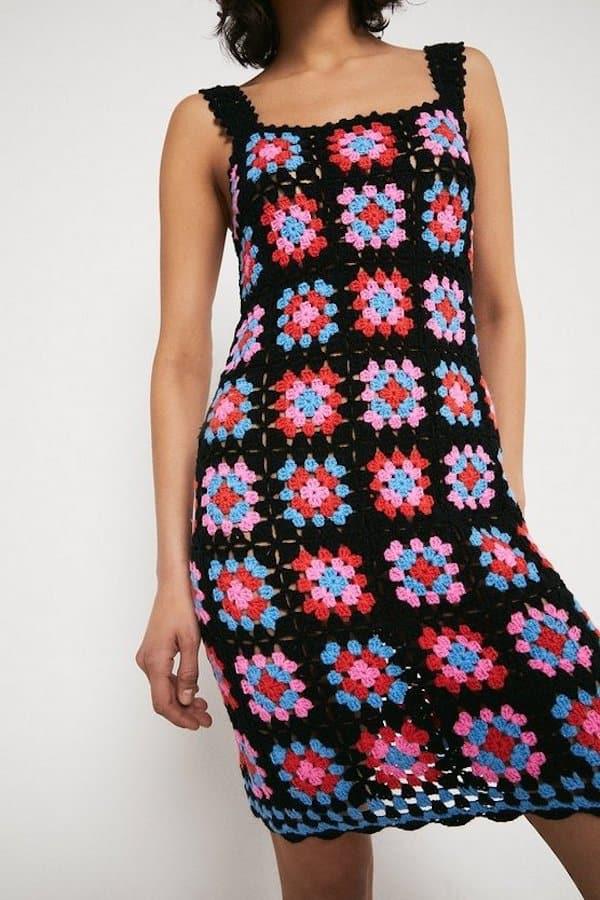 Warehouse Square Crochet Knit Dress