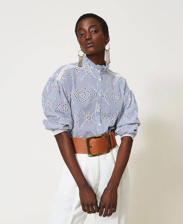 Twinset Poplin Shirt with Broderie Anglaise