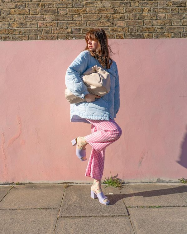 Lindsey Isla wearing pink gingham trousers