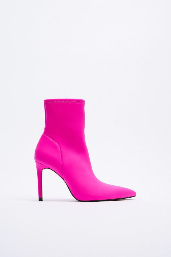 Zara Fabric High Heel Ankle Boots