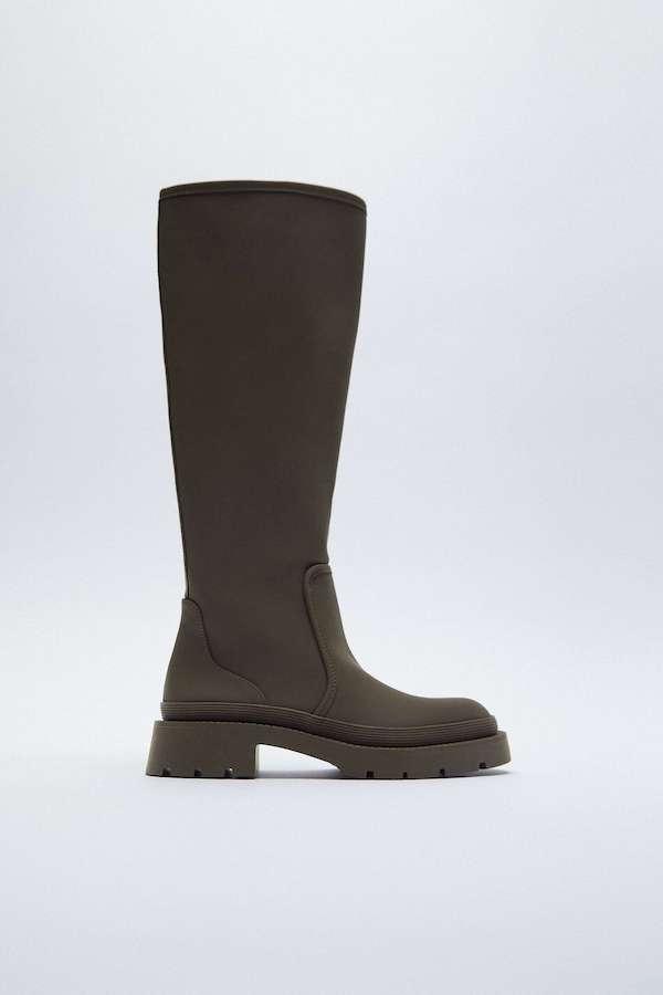 Zara Rubberised Flat Boots