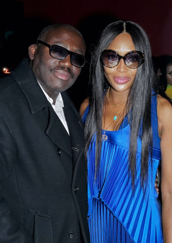 Edward Enninful and Naomi Campbell at LFW opening party