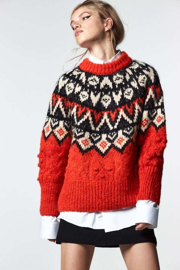 Jacquard Knit Sweater with Pompoms Zara