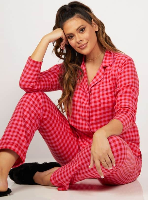 Red and pink gingham pyjamas in a bag Boux Avenue