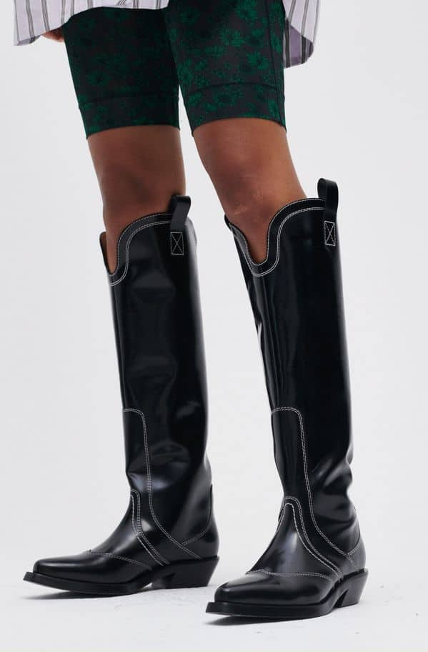 Polido Knee High Western Boot, Leather, in colour Black - 1 - GANNI