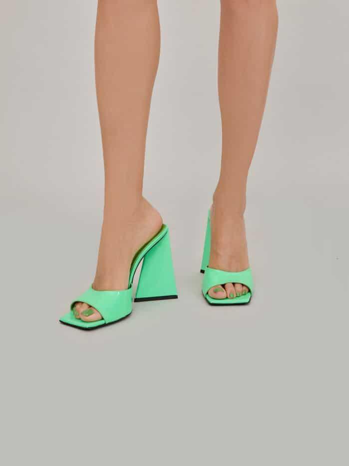 """The Attico Neon green patent """"Devon"""" mule 1"""