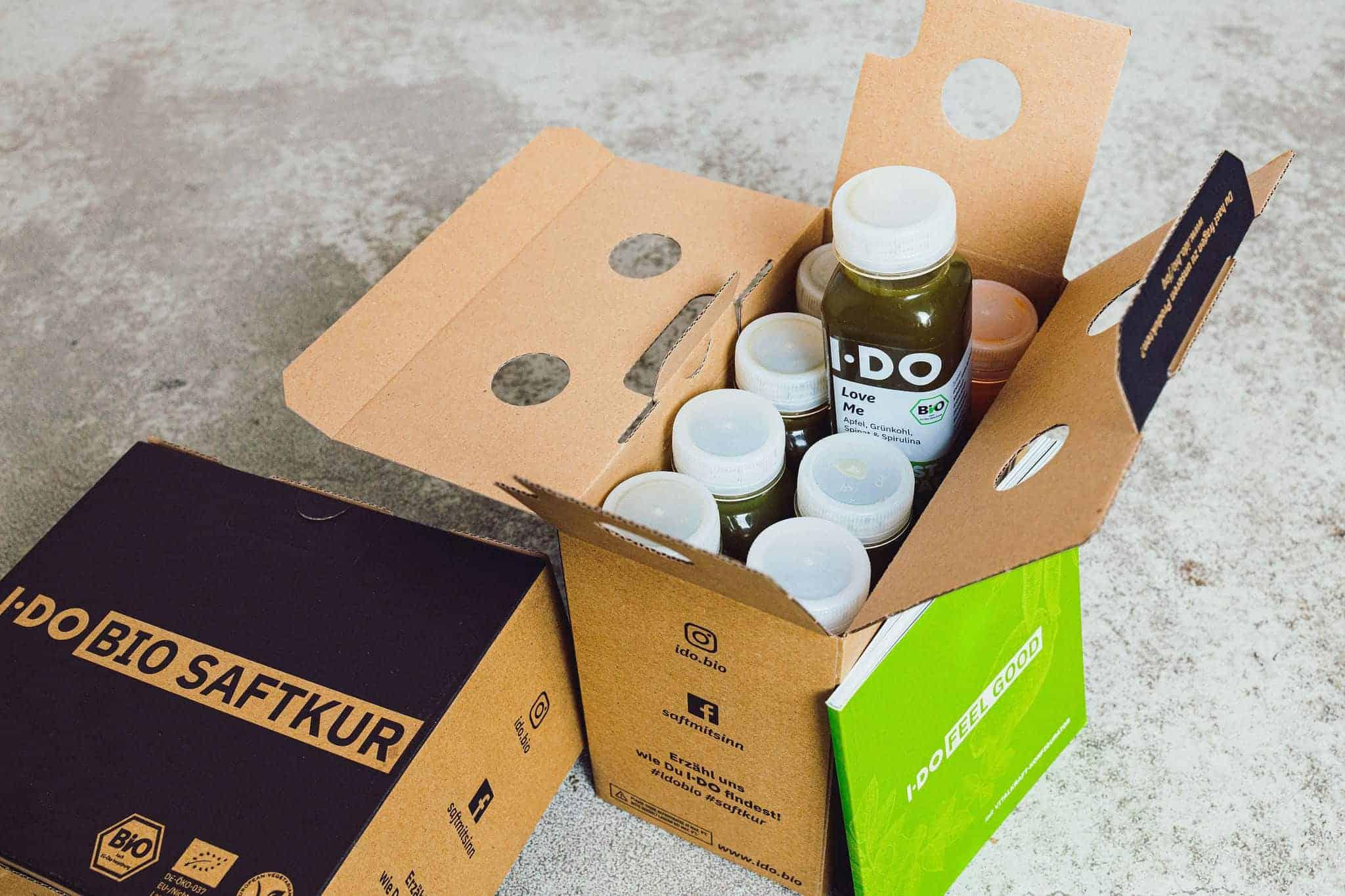 I·DO Bio Saft Detox Kur Tages-Box, 2 bis 12 Tage Saftfasten mit 8 frischen vorwiegend grünen Säften pro Tag