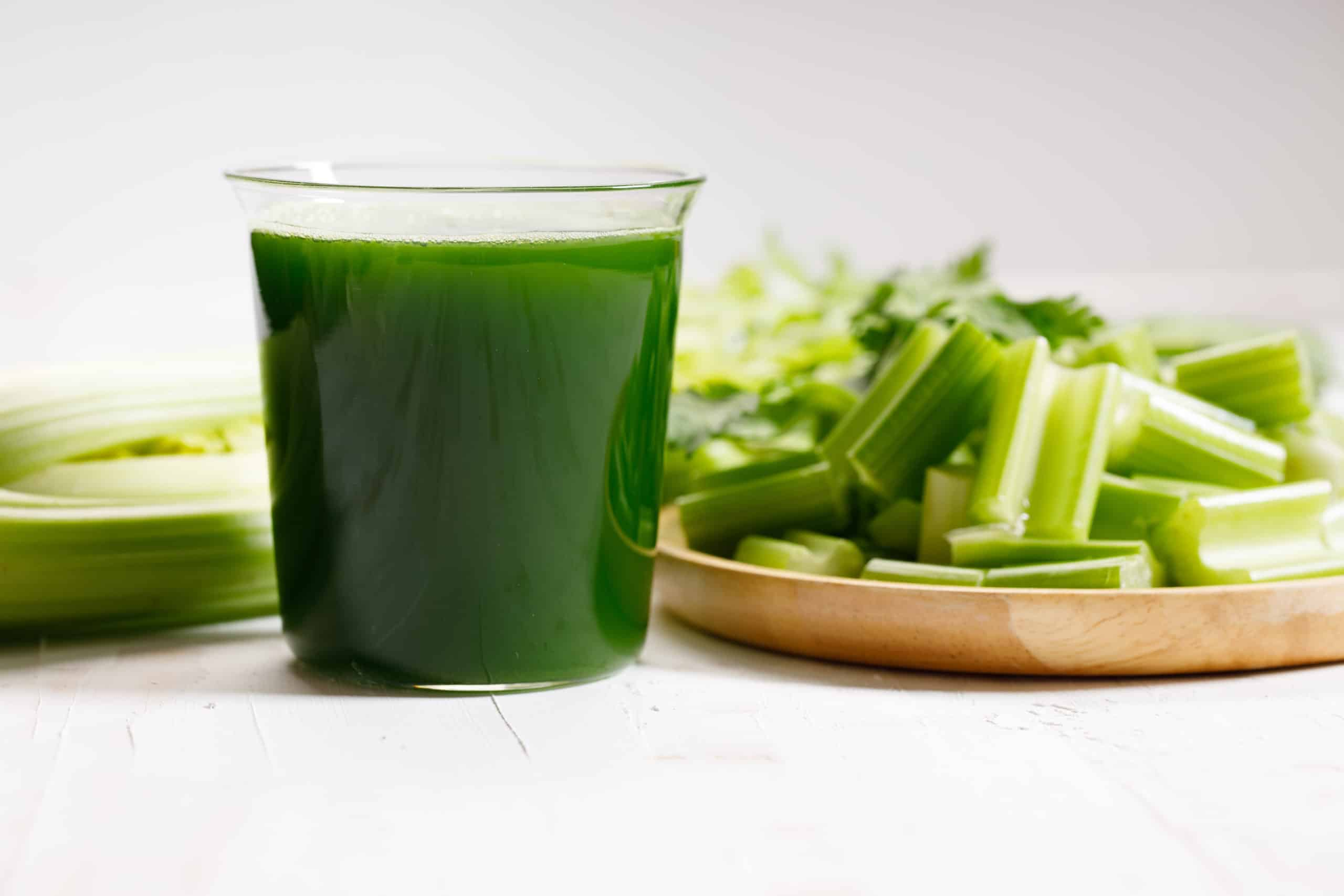 fresh celery and celery green juice