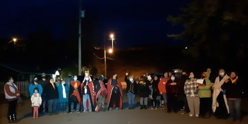 Gitxsan community gathered on Gitanmaax reserve in Hazelton, B.C. on Oct. 16 to stop MCFD social workers from taking child into 'care'