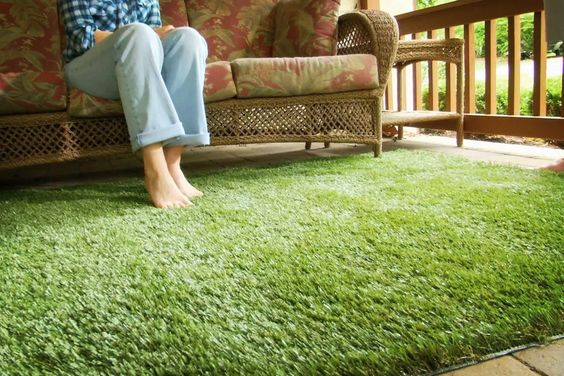 Grass carpet for balcony, and get your best small balcony design ideas