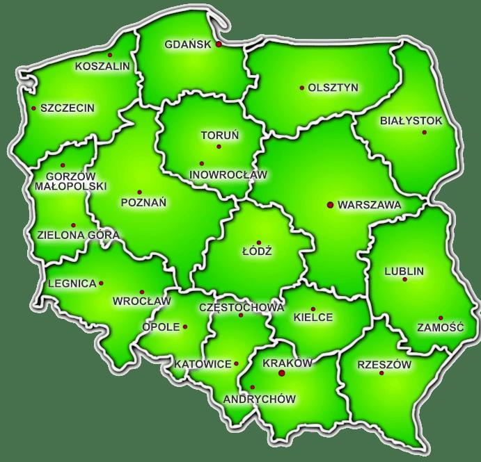 mapa dystrybucja Polska