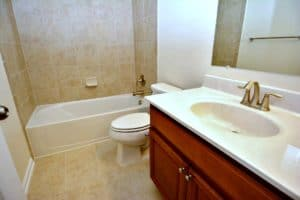 The most common bathroom fixtures are the bathtub, shower, toilet, and sink.